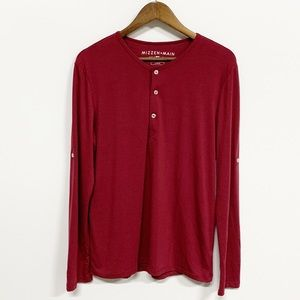 Mizzen + Main | Red Long Sleeve Henley Tee